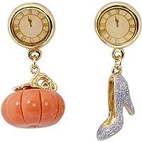 Reiko Cinderella'S High Heels And Pumpkin Earrings For Women, 18K Gold Plate Brass, Hand Painted Enamel Glaze Earrings