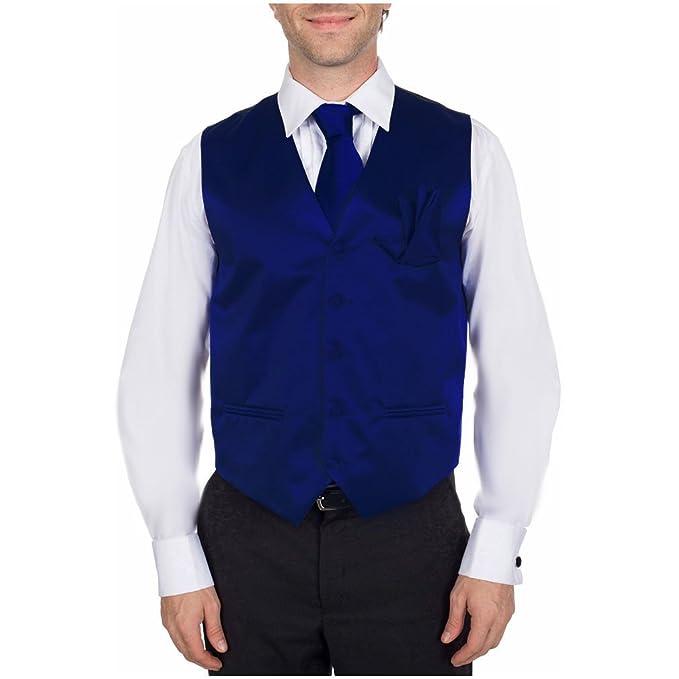 Amazon.com: Azul real Chaleco formal con corbata y bolsillo ...