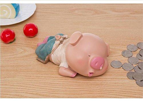 S-Size Kawaii Cute Pig Piggy Bank Resin Personalized Baby Nursery Decor (Rhinorrhea) by GH8