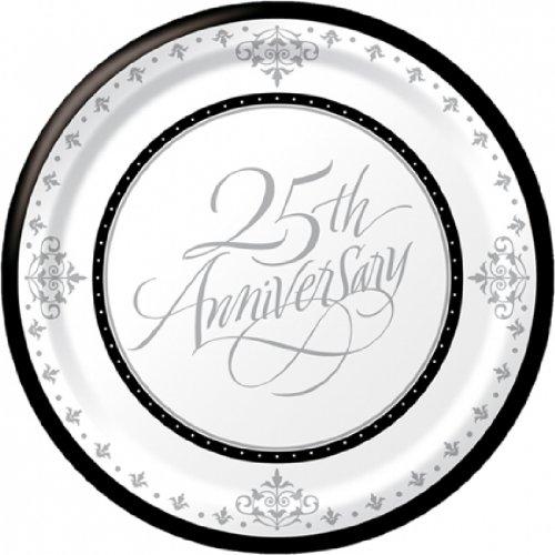 Creative Converting-Stafford Silver 25th Anniversary Plates (Dessert)