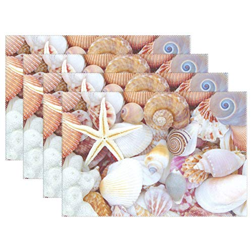 XiangHeFu Placemats Seashell Beach Ocean 12x18 inch Heat Resistant Set of 4 Non Slip Dinning Table