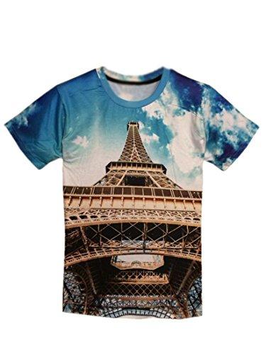 Easy Mens Rock Punk Eiffel Tower 3D Pattern Short-Sleeve T-Shirt M Blue
