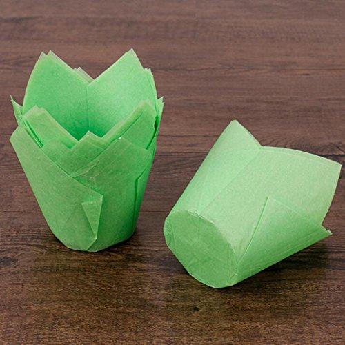 (Staron 50pcs Cupcake Wrappers Artistic Bake Cake Paper Cups Cake Multi Bakeware Tulip Chocolate Cupcake Muffin Baking Cup (Green))