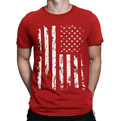SpiritForged Apparel Distressed White USA Flag Men's T-Shirt, Red 2XL
