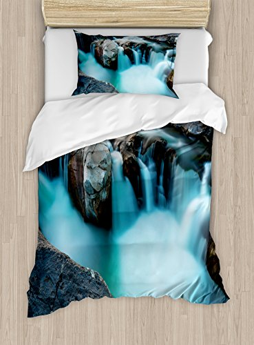Ambesonne Landscape Duvet Cover Set Twin Size, Waterfall Basalt Rocks Rural Scenery National Park Nature Woods Photo, Decorative 2 Piece Bedding Set with 1 Pillow Sham, Sky Blue Grey Green