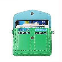 "Hankuke Multipurpose Universal Luxury Pu Leather Cross Body Shoulder Case Bag Pouch for Iphone, Samsung Galaxy,htc,nokia Lumia, Blackberry, Motorola Various Cell Phones Under 6.3"" (Green)"