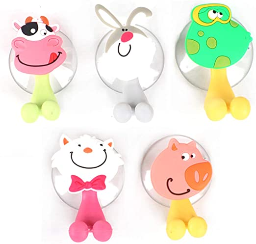 Toothbrush Holder Wall Mounted 3 Hooks Bathroom Suction Cup Funny Emotion White