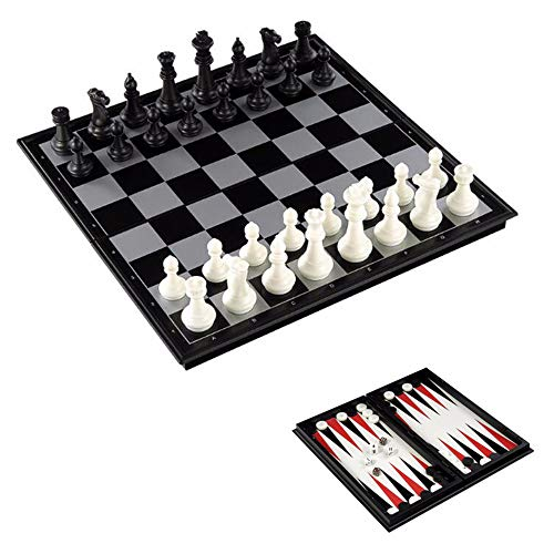 3 in 1 Chess Set Kids Folding Magnetic International Chess Checkers Backgammon Board Games Kit with Chessboard Chess Pieces - Travel-Sized Set