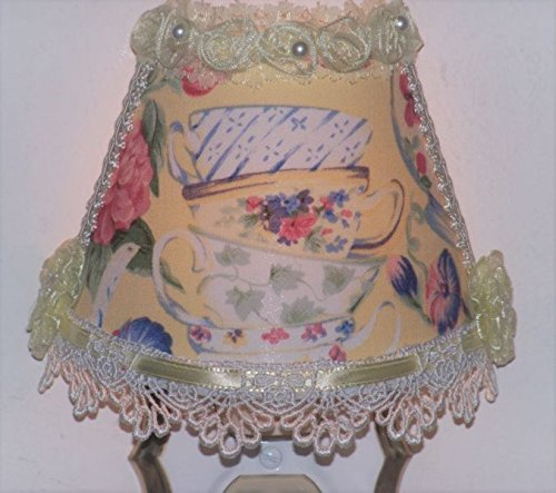 (Sunny Yellow Floral Stacked Teacups Night Light with Lace and Ribbon)