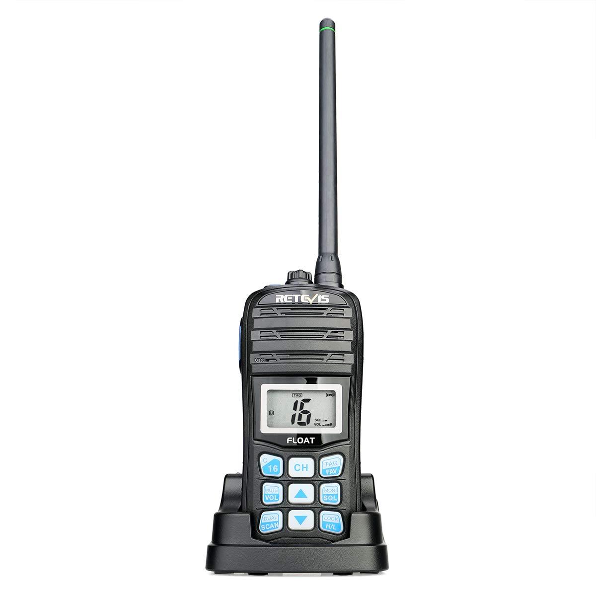 Retevis RT55 Marine Radio Floating Long Range Waterproof Handheld VHF Radio with NOAA Weather Alert and Vibration Water Draining Function(1 Pack) by Retevis