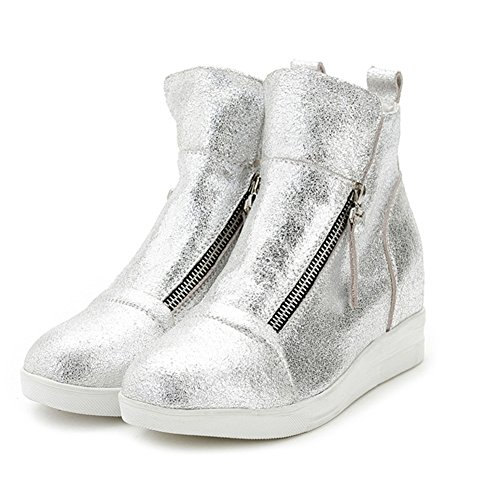 Top Shop Womens/Big Girls Students Fashion Hi-Top Cow Hide Slip-on Casual Single Shoes Silver,US 7.5
