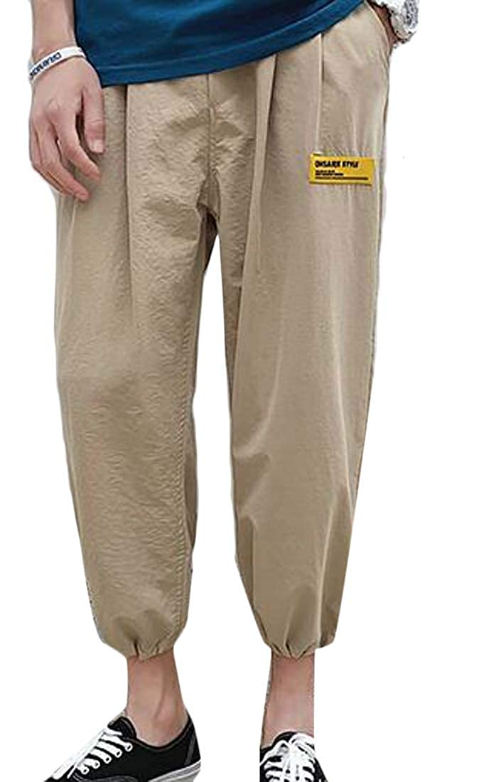 RRINSINS Men Fashion Elastic Waist Loose Fit Casual Harem Joggers Pants