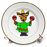 3dRose All Smiles Art - Music - Cute Funny Chihuahua Puppy Dog Shaking Maracas Cartoon - 8 inch Porcelain Plate (cp_293158_1)