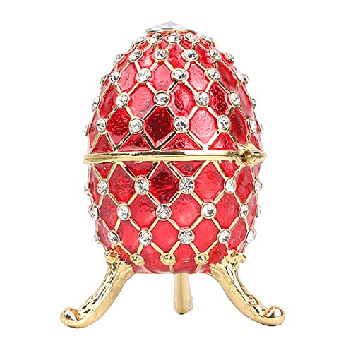 Hophen Easter Russian Faberge Style Egg Trinket Jewelry Keepsake Box Ring Holder Mother`s Day Gift (Red)