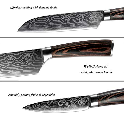 XITUO Kitchen Knives Set, 4pcs High Carbon Stainless Steel Chef Knife Set - Chef Knife, Santoku Knife, Utility Knife, Paring Knife with Razor Sharp Blade and Ergonomic Handle by XITUO (Image #3)