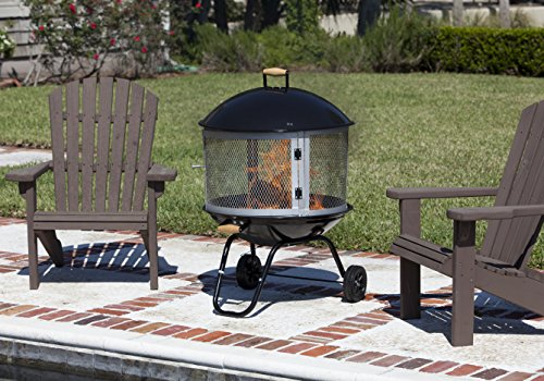 """Bessemer 01471 28"""" Patio Fireplace, Black and Silver - Portable fireplace with wheels for easy transport to patio, campsite, and beach. Porcelain enamel bowl and lid for optimal corrosion resistance and easy cleaning Two screens are in fire pit with other pieces, Two screens wrapped in corragate which is attached to underside of fire pit. Domed top pushes heat outward instead of straight up for warmer get-togethers - patio, outdoor-decor, fire-pits-outdoor-fireplaces - 51f4AnJGslL -"""