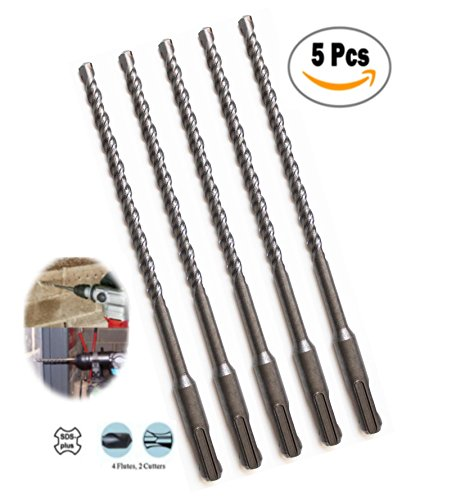 Max-Craft 3/16 Inch 5 Pcs SDS Plus Rotary Hammer Drill Bit Carbide Tipped Masonry Concrete Drills 8 Inch Overall Length With Plus Shank Drilling for Concrete, Masonry, Wall, Road.(3/16 x 8 Inch) (Tipped Drills Carbide Hammer Masonry)