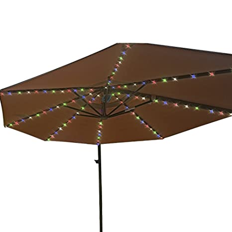Patio Umbrella String Lights With Remote Control 104 LED Copper Wire  Decoration Lights Battery Operated Ip67