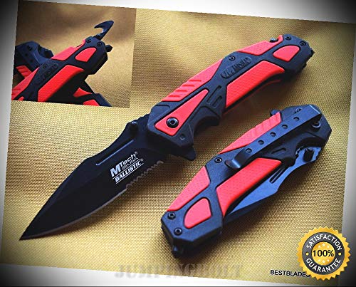MTECH SPRING ASSISTED RESCUE SHARP KNIFE WITH POCKET CLIP - 4.75 INCH CLOSED - Premium Quality Hunting Very Sharp EMT EDC