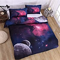 WHICH Umbrella three Blue Galaxy Bedding Set 3D Outer Space Theme Print Duvet Cover Sets Girls 3/4pcs Bed Cover Set Print Bed Linen Duvet Cover 100% Soft Microfiber Fitted Sheet