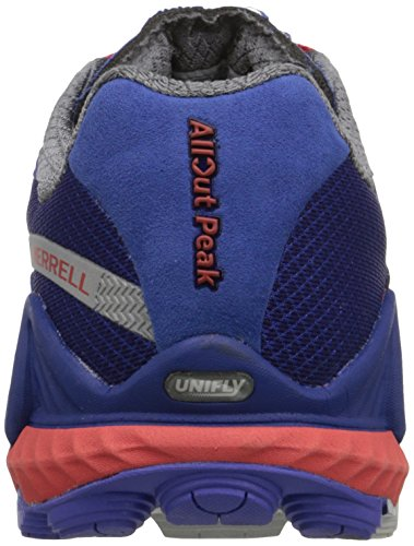 Merrell Womens All Out Peak Trail Scarpa Da Corsa Royal Blue / Orange