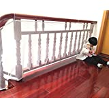 Anyumocz 6.56Ft Child Safety Rail Net for INDOOR & OUTDOOR Usage-Banister Stair Net – Child Safety; Pet Safety; Toy Safety; Stairs Protector(White)