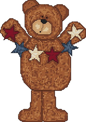 Primitive Cross Stitch Patterns (Patriotic Bear Cross Stitch Pattern (Not a Kit) Stitching Tips/Fabric Planning Guide included.)