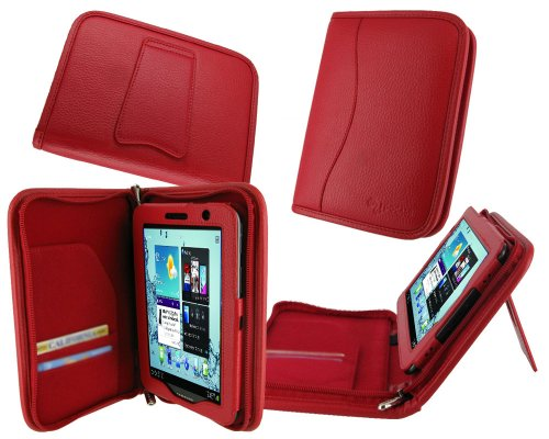 rooCASE Executive Portfolio Leather Case Cover with Landscape / Portrait View for Samsung GALAXY Tab 7.0 PLUS Tablet / Samsung GALAXY Tab 2 7.0 - Red