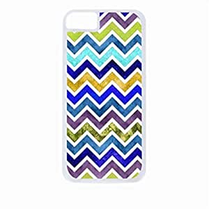 Watercolor Chevron- Case for the Apple Iphone 5-5s Universal-Hard White Plastic Outer Shell with Inner Soft Black Rubber Lining