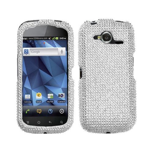 - Silver White Clear Bling Rhinestone Diamond Faceplate Hard Skin Case Cover for Pantech Burst PN9070 w/ Free Pouch
