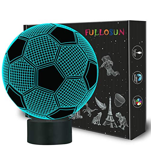 FULLOSUN Kids Night Light Football 3D Optical Illusion Lamp with 7 Colors Changing Soccer Birthday Xmas Idea for Sport Fan Boys Girls ()