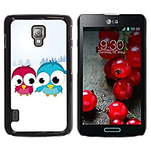 PC/Aluminum Funda Carcasa protectora para LG Optimus L7 II P710 / L7X P714 Blue Red Bird Art Snow Couple Love Romantic / JUSTGO PHONE PROTECTOR