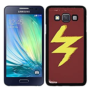 Funda carcasa para Samsung Galaxy A3 diseño rayo amarillo fondo rojo borde negro