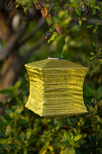 Allsop Home and Garden 10'' x 12'' Square Silk Effects LED Outdoor Solar Lantern, Handmade with Weather-Resistant UV Rated Fabric, Stainless Steel Hardware, Chinese Style Light, Moss, 1-Count by Allsop Home and Garden (Image #1)