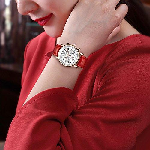 MEGIR Watches for Women Quartz Sport Chronograph Red Leather Strap Stylish Dress Wrist Watch by MEGIR (Image #2)