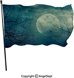 AngelSept Fashion UV Protected Polyester Flags,Halloween with Full Moon in Sky and Dead Tree Branches Evil Haunted Forest Blue,3x5 ft,Durable & Fade Resistant for Outside All Weather