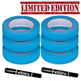 Blue Painters Tape - 1 Inch - Masking Adhesive tape - Wall Safe – Floor Safe- Artist Packing Paint Tape for Tiles, Car, Floor - No Rip or Residue - 14 Day Removable Tool – 6 PACK + 2 MARKER