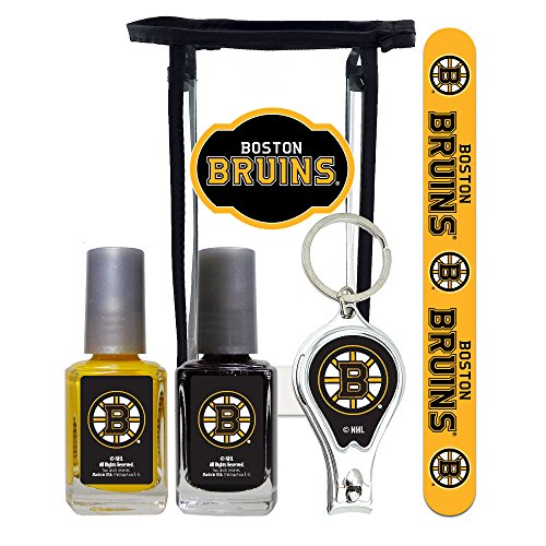(NHL Boston Bruins Manicure Pedicure Set with 7-Inch Nail File, Nail Clippers, 2 Nail Polishes in Team Colors, and Toiletry Bag for the Whole Kit. NHL Gifts for Women.)