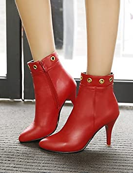 ushoe Botas de mujer Zapatos mujer Botas Vestir Casual Botines a punta A Stiletto Piel Sintética Negro Rojo, rojo: Amazon.es: Deportes y aire libre