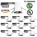 """Sunco Lighting 10 PACK - 4"""" inch Remodel LED Can Air Tight IC Housing LED Recessed Lighting- UL Listed and Title 24 Certified"""
