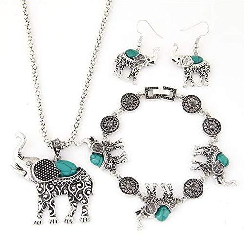 Gbell Clearance! Women Vintage Elephant Pendant Necklace Drop Earrings Bracelet Jewelry Set for Teen Girls Ladies Party Ball Jewelry Statement -
