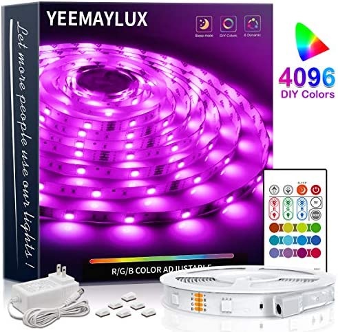 YEEMAYLUX LED Strip Lights 16.4ft 4096 DIY Color converting 5050 RGB 150 LEDs gentle strip package with Remote and Hidden Controller Easy Installation for TV backlight,Room and Bedroom Multicolor Decoration.