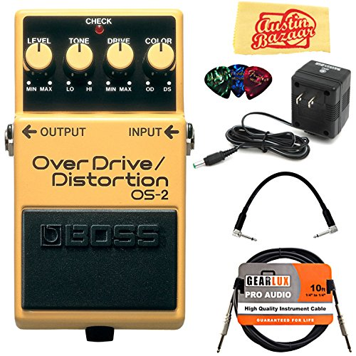 Boss OS-2 OverDrive/Distortion Bundle with Power Supply, Instrument Cable, Patch Cable, Picks, and Austin Bazaar Polishing Cloth (10 Best Overdrive Pedals)