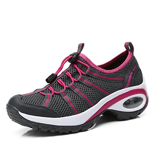 LILY999 Damen Mesh Sportschuhe Laufschuhe Turnschuhe Atmungsaktive Schnür Schuhe Leicht Fitness Sneaker Outdoor Hiking Trekking Shoes Dunkelgrau
