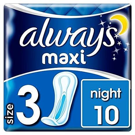 Siempre Maxi noche Toallas Sanitarias 10 por paquete: Amazon.es: Salud y cuidado personal