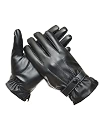 Yontree Men's Winter Full Palm Touchscreen Texting Driving Leather Gloves Style B