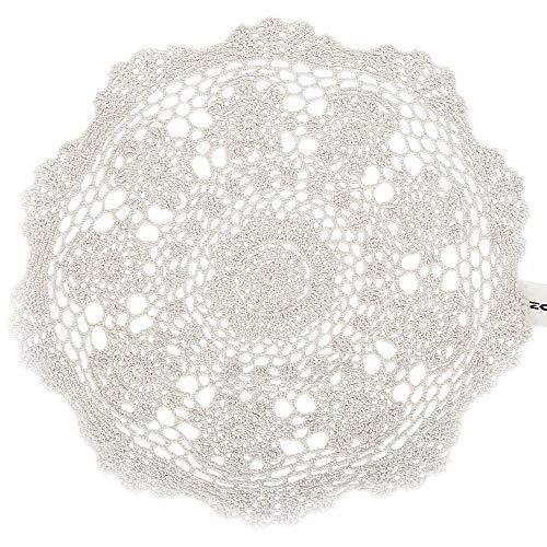 ZORJAR Placemats Handmade Lace Crochet Cotton Table Mats Placemats Coaster 17.72Inch(45CM, Beige C)