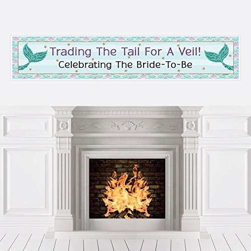 Big Dot of Happiness Trading The Tail for A Veil - Mermaid Bachelorette Party or Bridal Shower Decorations Party Banner ()
