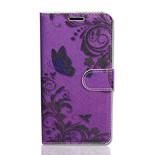 Handy Tasche Case book für Apple iPhone 6 Plus / Handytasche butterfly purple