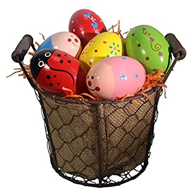 6 Wooden Percussion Musical Egg Maracas Egg Shakers: Toys & Games